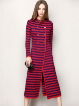 Vermelho O-Neck Stripes Knitting Button Cam manga longa Sweater