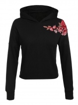 Black Women Casual Long Sleeve Floral Embroidery Pullover Hoodie