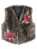 Brown Women Winter Fashion Sleeveless Floral Embroidery Short Faux Fur Vest