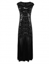 1920s Style Flapper Sleeveless Patchwork Sequined Beading Dresses