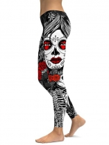 Black Skull Face Printing Fitness Gym Yoga Elastic Leggings