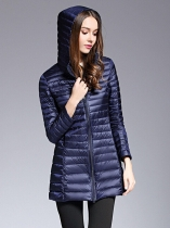 Navy blue Women Long Hooded Packable Down Puffer Coat