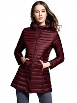 Wine red Women Long Hooded Packable Down Puffer Coat