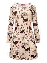 Meruňka Women Christmas Reindeer Printing Long Sleeve Slim Fit A-Line Party Dress