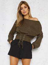 Khaki Women Slash Neck Long Sleeve Solid Lace-up Pullover Sweater