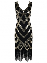 Gold 1920s V-Neck Sleeveless Sequin Fringed Party Dress