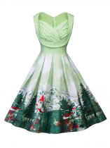 Green 1950s Sweetheart Collar Sleeveless Ruched Swing Party Dress