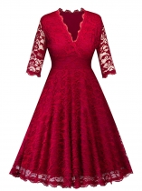 Red Vintage 1950s Plunging 3/4 Sleeve Lace Party Dress