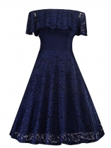 Blue Vintage 1950s Off Shoulder Short Sleeve Lace Party Dress