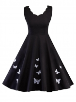 Black Vintage 1950s Sleeveless Buterfly Embroidery Party Swing Dress