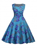 Blue 1950s Sweetheart Collar Sleeveless Ruched Butterfly Party Swing Dress