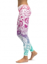 As Picture Floral Skull Printing Fitness Gym Yoga Elastic Leggings