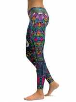 As Picture Colorful Elephant Printing Fitness Gym Yoga Elastic Leggings