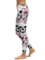 White Floral Skull Printing Fitness Gym Yoga Elastic Leggings
