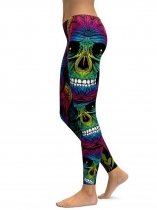 As Picture Rainbow Skull Printing Fitness Gym Yoga Elastic Leggings