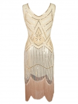 Beige Women 1920s Vintage Style Beaded Sequin Embellished Fringed Evening Party Cocktail Flapper Dress