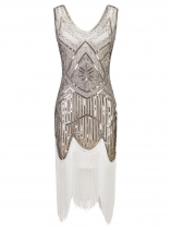 White Women 1920s Vintage Style Beaded Sequin Embellished Fringed Evening Party Cocktail Flapper Dress