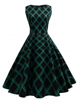 Femmes 1950s Vintage Style manches ceinturé taille empire à carreaux Swing Party Dress