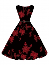 Black 1950s Vintage O-Neck Sleeveles Floral Swing Party Dress with Belt