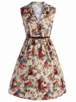 Apricot 1950s Vintage V-Neck Button Down Sleeveless Belted Floral Swing Dress