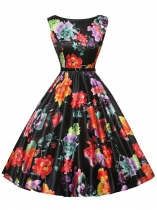 Black 1950s Vintage O-Neck Sleeveless Floral Swing Party Dress with Belt