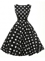 Black 1950s Vintage O-Neck Sleeveless Polka Dot Swing Party Dress with Belt