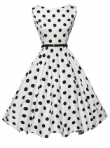 White 1950s Vintage O-Neck Sleeveless Polka Dot Swing Party Dress with Belt