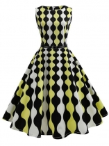 As Picture 1950s Vintage O-Neck Sleeveless Geometric Printing Swing Party Dress with Belt