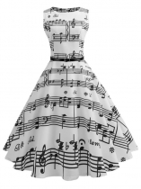 White 1950s Vintage O-Neck Sleeveless Music Note Printing Swing Party Dress with Belt
