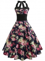 Navy blue 1950s Vintage Halter Sleeveless Floral Swing Party Dress