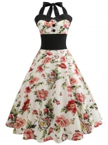 White 1950s Vintage Halter Sleeveless Floral Swing Party Dress