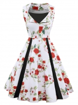 As Picture 1950s Vintage V-Neck Sleeveless Floral Patchwork Swing Party Dress