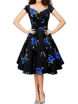 Blue 1950s Vintage Short Sleeve Floral Swing Party Dress
