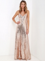 Women Elegant Plunge V-Neck Sleeveless Backless Sequin Evening Party Maxi Dress