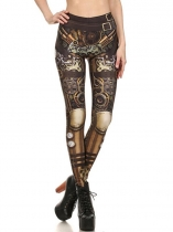 Women Casual Machine Printing Stretchy Skinny Full Length Leggings