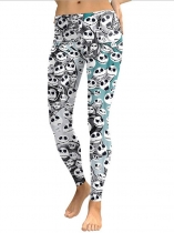 Women Casual Skull Printing Stretchy Skinny Full Length Leggings