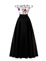 Black Women Elegant Vintage Style Off Shoulder Floral Evening Party Maxi Dress
