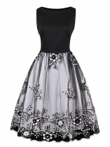 Black Женщины 1950-х годов Vintage Style Slash Neck Sleeveless Floral Вышивка Swing Party Dress