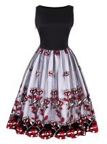 Red Femmes des années 1950 Style Vintage Slash Neck manches Floral broderie Swing Party Dress