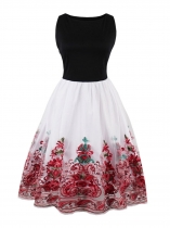 Red Women 1950s Vintage Style Slash Neck Sleeveless Embroidery Swing Party Dress
