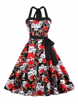 Women 1950s Vintage Style Halter Floral Belted Swing Party Dress