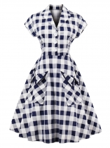 Women 1950s Vintage Style Shawl Short Sleeve Large Pockets Plaid Swing Party Dress