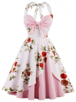 Women 1950s Vintage Style Halter Floral Big Bow Swing Party Dress