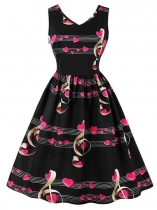 Women Fashion V-Neck Sleeveless Music Note Printing Swing Party Dress