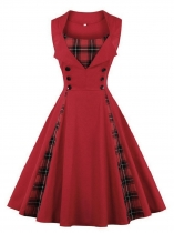 Red Women 1950s Vintage Style Sleeveless Plaid Patchwork Swing Party Dress