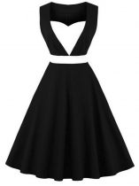 Black Women 1950s Vintage Style Sweetheart Neck Sleeveless Contrast Color Patchwork Swing Party Dress