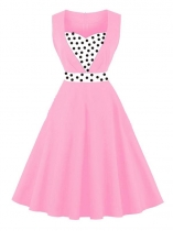 Pink Women 1950s Vintage Style Sweetheart Neck Sleeveless Contrast Color Patchwork Swing Party Dress
