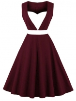 Wine red Women 1950s Vintage Style Sweetheart Neck Sleeveless Contrast Color Patchwork Swing Party Dress