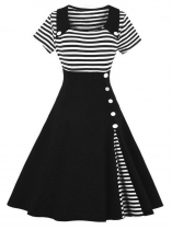 Black Women 1950s Vintage Style Short Sleeve Striped Patchwork Swing Party Dress