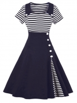 Blue Women 1950s Vintage Style Short Sleeve Striped Patchwork Swing Party Dress
